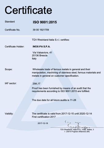 ISO 9001 Inox-Pa EN